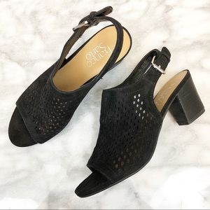 Franco Sarto Monaco 2 laser cut black slingbacks